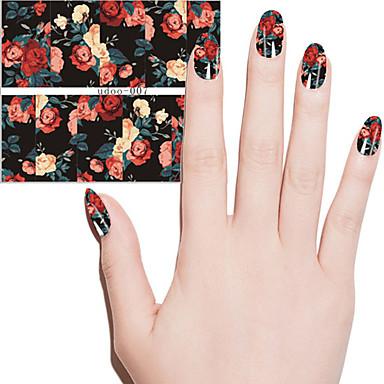 Art und Weise Frauen schöne Blumen Wassertransfer Abziehbilder Nagelkunstaufkleber Schönheit Maniküre DIY