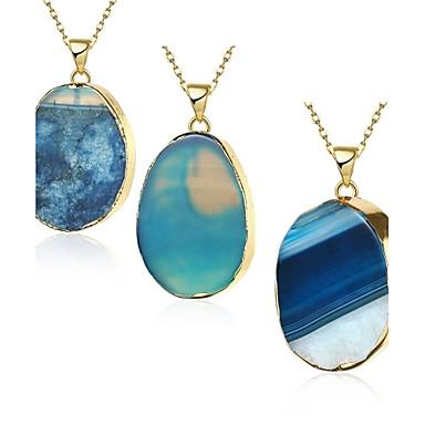 שרשראות שרשראות תליון תכשיטים כחול ברקת / נחושת / ציפוי זהב Party / יומי Oval Shape 1pc