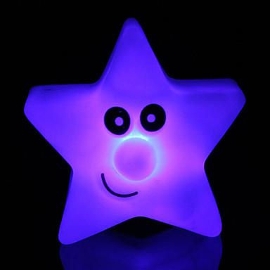 kreative fargeskiftende akryl stjerners lys fargerike fem-stjerners ledet nattlys liten lykt hjem dekorasjon