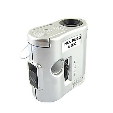-ZW 9592 mini 60x mărire microscop cu lumina detectare a condus lanterna / valută (3 x LR43)