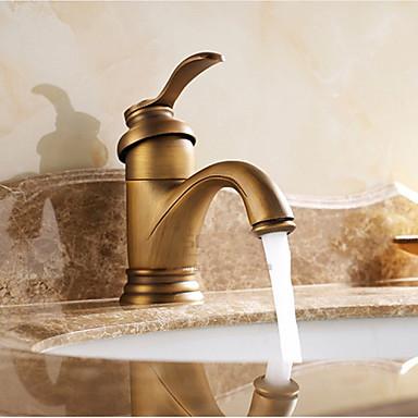 Perinteinen Integroitu Vesiputous Keraaminen venttiili Yksi reikä Yksi kahva yksi reikä Antiikkimessinki , Kylpyhuone Sink hana