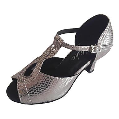 Women's Latin Ballroom Leatherette Heel Practice Customized Heel Gray Customizable