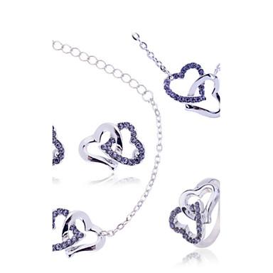 Damen Schmuckset Halskette / Ohrringe Halskette / Armband Synthetische Edelsteine Zirkon Diamantimitate Herz Luxus Liebe Hochzeit Party