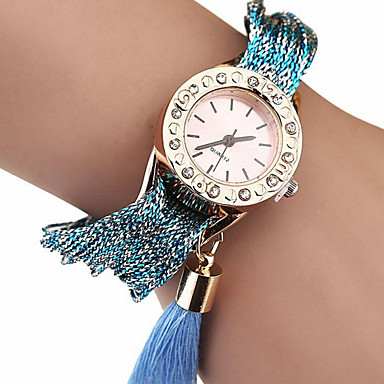 Damen Modeuhr Armband-Uhr Quartz Stoff Band Blau Braun Khaki