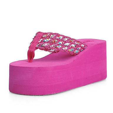 Sko-Tekstil-Platå-Flip-flop-Sandaler-Friluft / Formell / Fritid-Svart / Rosa
