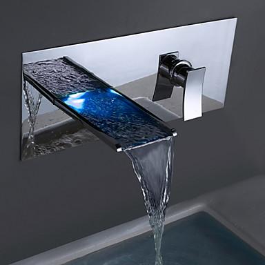 Moderne Wandmontage Wasserfall Keramisches Ventil Zwei Löcher Einzigen Handgriff Zwei Löcher Chrom, Badewannenarmaturen Waschbecken