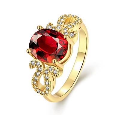 levne Fashion Ring-Dámské Oval Band Ring Zásnubní prsten Zirkon Pozlacené Koktejl prsten Vintage Módní Elegantní Fashion Ring Šperky Červená Pro Svatební Párty Denní Práce