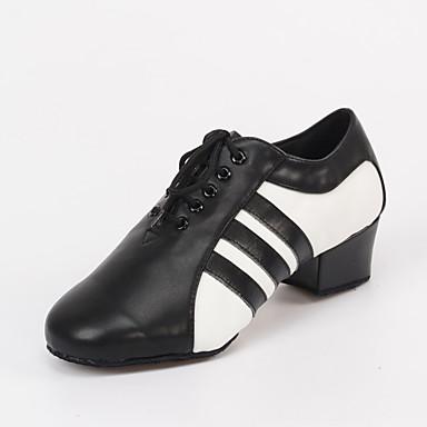 בגדי ריקוד גברים נעליים לטיניות / נעלי ג'אז דמוי עור סנדלים / עקבים שרוכים עקב עבה מותאם אישית נעלי ריקוד שחור / בבית / הצגה / אימון