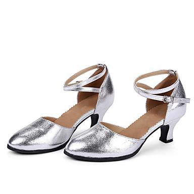 Femme Chaussures Modernes / / Modernes Salon Cuir Talon Boucle Talon Cubain Non Personnalisables Chaussures de danse Rouge / Argenté / Doré 441181