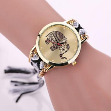 Mulheres Relógio de Moda Quartzo Relógio Casual Tecido Banda Preta Branco Vermelho Roxa Cáqui Ivory