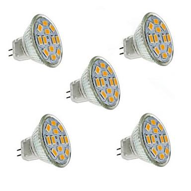 abordables Ampoules électriques-1.5 W Spot LED 130-150 lm GU4(MR11) MR11 12 Perles LED SMD 5730 Décorative Blanc Chaud 12 V / 5 pièces / RoHs