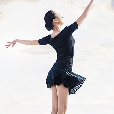 Ballett Drakter Dame Yteevne Spandex Polyester Drapert Plissert 2 deler Kort Erme Topp Skjørte