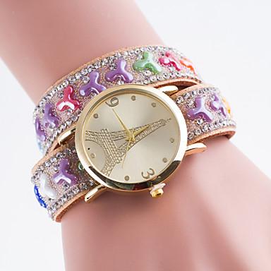 아가씨들 스포츠 시계 모조 다이아몬드 시계 석영 PU 밴드 에펠탑 블랙 화이트 블루 레드 브라운 핑크 퍼플 로즈