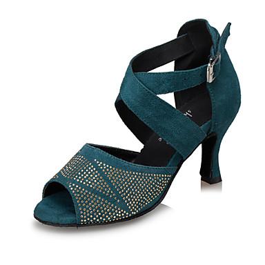 Feminino Latina Samba Camurça Sandália Apresentação Pedrarias Salto Agulha Leopardo Preto Azul Claro Personalizável