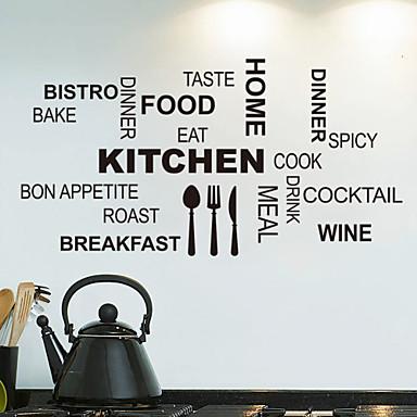 Asetelma Muodot Words & Quotes Food Wall Tarrat Lentokone-seinätarrat Koriste-seinätarrat, PVC Kodinsisustus Seinätarra Seinä