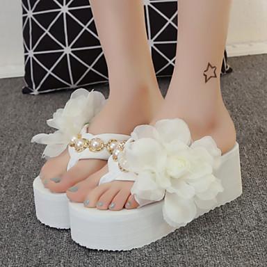 Žene Cipele Tkanina Proljeće Ljeto Jesen Platformske cipele Cvijet od satena za Vanjski Formalne prilike Obala Crn Pink
