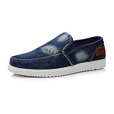 Miesten kengät Canvas Kevät Syksy Comfort Mokkasiinit Röyhelöity varten Kausaliteetti Tumman sininen Vaalean sininen