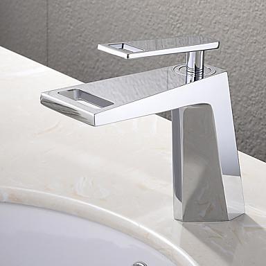 Moderni Pöytäasennus Vesiputous with  Keraaminen venttiili Yksi kahva yksi reikä for  Kromi , Kylpyhuone Sink hana