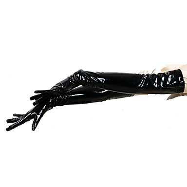 Gloves Ninja Zentai Cosplay Costumes Black Solid Colored Gloves PVC Men's Women's Halloween