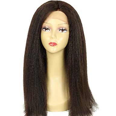 Kadın's Gerçek Saç Örme Peruklar Gerçek Saç Komple Dantel Tutkalsız Tam Dantel % 100 Elle Bağlanmış % 130 Yoğunluk Kinky Düz Düz Peruk
