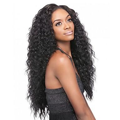 Emberi haj Csipke / Csipke eleje Paróka Kinky Curly 130% / 150% Sűrűség Természetes hajszálvonal / Afro-amerikai paróka / 100% kézi