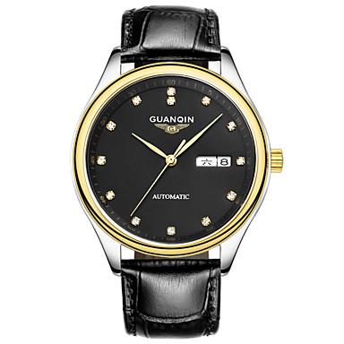 Herren Armbanduhr Automatikaufzug LED / Kalender / Wasserdicht Leder Band Schwarz / Braun Marke