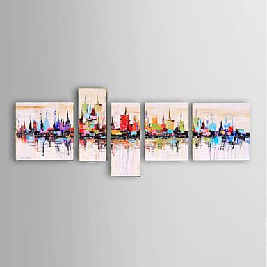 Hang-Painted Oliemaleri Hånd malede - Abstrakt Landskab Sille Liv Fantasi Moderne Fem Paneler