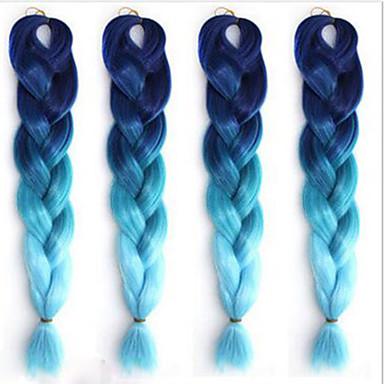 Ms afrika fiber farge stort barn jumbo fletning hår høy temperatur gradient blå silke svart 1pcs