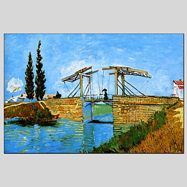 Maalattu Abstraktit maisemakuvatClassic / Realismi / Pastoraali / European Style / Moderni 1 paneeli Kanvas Hang-Painted öljymaalaus For