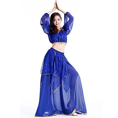 Dança do Ventre Roupa Mulheres Espetáculo Chiffon Lantejoulas Sem Manga Caído Blusa Saia
