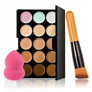 15 Farben Kontur Gesichtscreme Make-up Concealer Palette + Schwamm puff Puderpinsel für Concealer Grundlage blusher