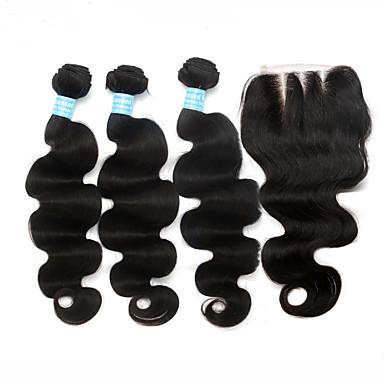 Malaysisk hår Hår Veft Med Lukker Løse bølger Hårforlengelse 4 deler Svart