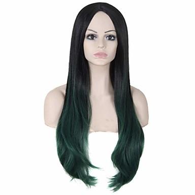 נשים פאות סינתטיות ללא מכסה ארוך ישר ירוק פאות תלבושות