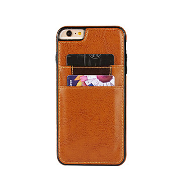 Etui Til Apple iPhone 6 Plus / iPhone 6 Kortholder Bagcover Ensfarvet Hårdt PU Læder for iPhone 6s Plus / iPhone 6s / iPhone 6 Plus
