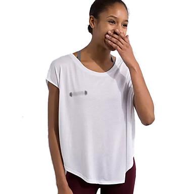 Damen Laufshirt Kurzarm Rasche Trocknung Atmungsaktiv Sweatshirt Oberteile für Übung & Fitness Freizeit Sport Laufen Baumwolle Weiß