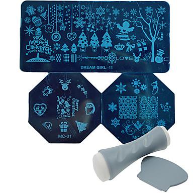bricolaje polonia nieve plantilla de transferencia de manicura nc165 herramienta navidad