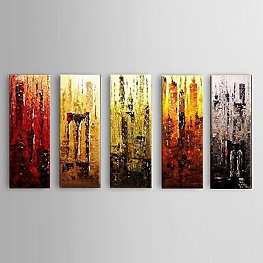 Håndmalte Abstrakt Moderne,Fem Paneler Hang malte oljemaleri