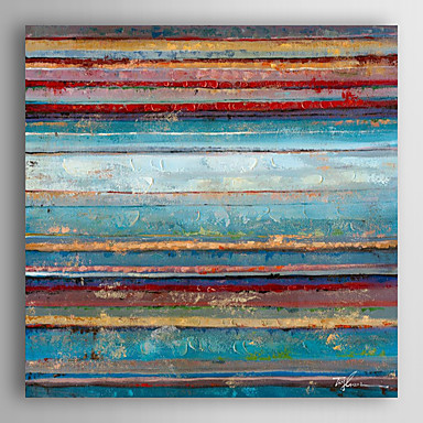 mão pintura a óleo pintado camadas de cores com moldura abstracta esticado arts® 7 parede