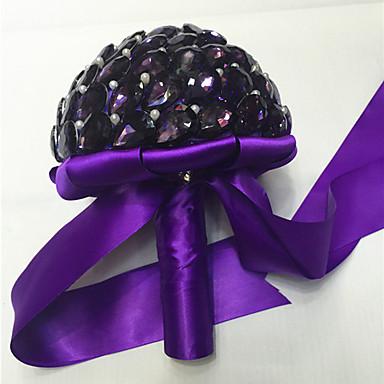 Fleurs de mariage Bouquets Mariage Perle Cristal Strass Satin 23cm