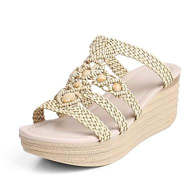 Damen Schuhe maßgeschneiderte Werkstoffe Kunstleder Frühling Sommer Keilabsatz Imitationsperle Geflochtene Riemchen Für Normal Kleid