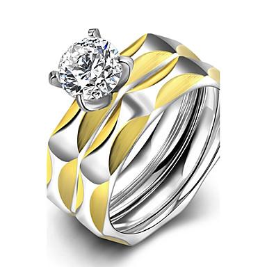 Ringe Others Modisch Hochzeit Party Alltag Normal Schmuck Zirkon Titanstahl vergoldet Set 1 Set,6 7 8 9 Goldfarben Silber