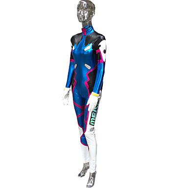 Inspiriert von Wacht D.Va Video Spiel Cosplay Kostüme Cosplay Kostüme Druck Blau Lange Ärmel Gymnastikanzug / Armbänder
