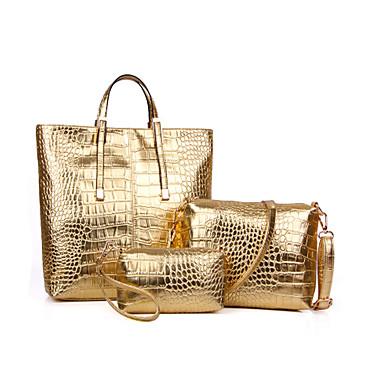 Mulher Bolsas Todas as Estações Couro Ecológico Tote Conjuntos de saco para Compras Casual Dourado Preto Prata