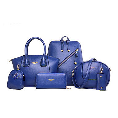 Mulher Bolsas Todas as Estações Couro Ecológico Mochila Conjuntos de saco para Compras Casual Formal Preto Amarelo Azul Rosa claro