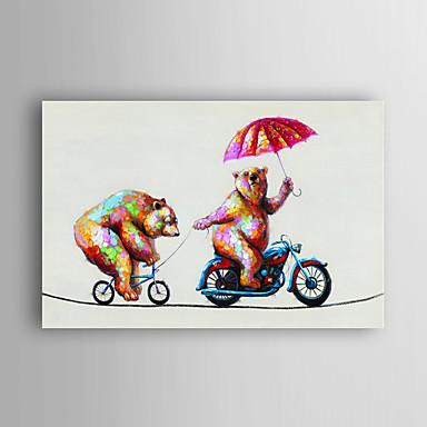 handgemaltes Ölgemälde Tier zwei Smart-Bären im Radsport mit gestreckten Rahmen 7 Wand ARTS®