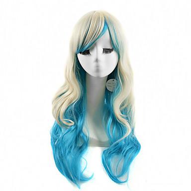 Synthetische Haare Perücken Wellen Kappenlos Lang Blau