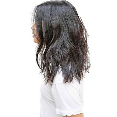 Echthaar Vollspitze Perücke Wellen 130% Dichte 100 % von Hand geknüpft Afro-amerikanische Perücke Natürlicher Haaransatz Kurz Medium Damen