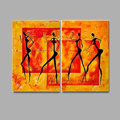 handbemalte abstrakte Ölgemälde Akt 2 Stück / Set Wandkunst mit gestreckten Rahmen
