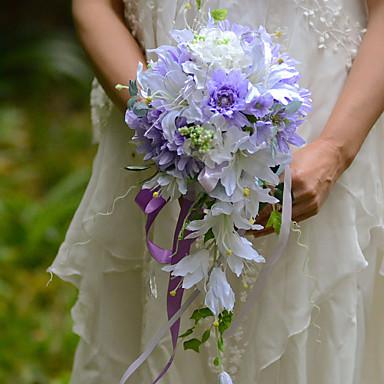 Bouquets de Noiva Forma-Livre Cascata Lírios Buquês Casamento Festa / noite Cetim Seda Organza