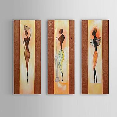 handgemalte afrikanische Portrait-Ölgemälde auf Segeltuch 3pcs / set Wandkunst Whit Rahmen
